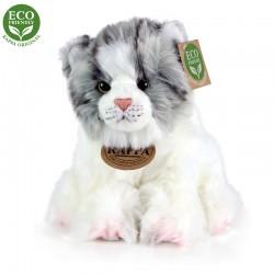 Rappa plüss szürke-fehér macska - ülő - 17 cm