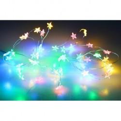 Színes LED csillagokra elemekre - 105 cm - 20 LED dióda