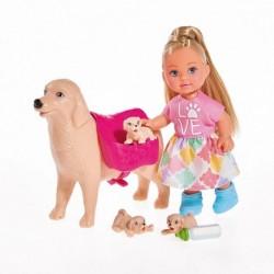 Simba Evička baba kutyával és kölykökkel
