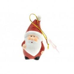 Égetett agyag karácsonyfadísz figura - Santa - 8 cm