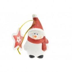 Égetett agyag karácsonyfadísz figura - Hóember - 8 cm
