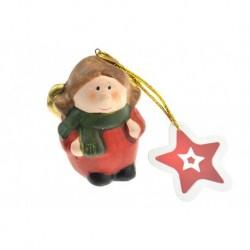 Égetett agyag karácsonyfadísz figura - Angyal - 8 cm