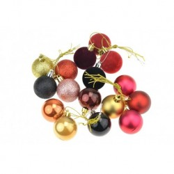 Karácsonyfagömb készlet - arany és lila - 40 mm - 16 db