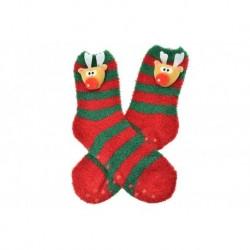 Meleg zokni csúszásmentes talppal - rénszarvas - zöld-piros - 38-39 méret