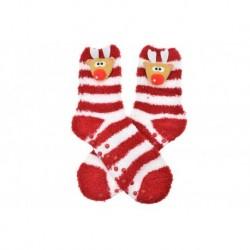 Meleg zokni csúszásmentes talppal - rénszarvas - fehér-piros - 38-39 méret