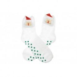 Meleg zokni csúszásmentes talppal - Santa - fehér - 38-39 méret