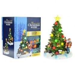 Kézzel festett karácsonyfa LED fénnyel - 18 cm