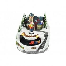 Karácsonyi dísz - fiú a ház előtt és mozgó vonattal - fénnyel - 13 cm