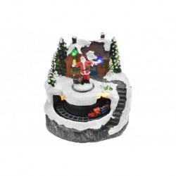 Karácsonyi dísz - Santa a ház előtt és mozgó vonat - világító - 13 cm