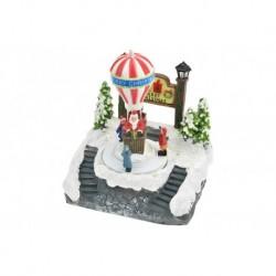 Karácsonyi dísz - világító és mozgó karácsonyi hőlégballon télapóval - 18 cm
