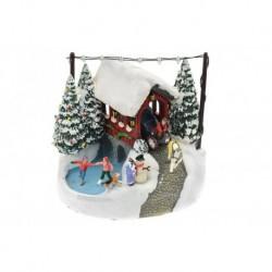 Karácsonyi dísz - kocsi és jégpálya - világító - 17 cm
