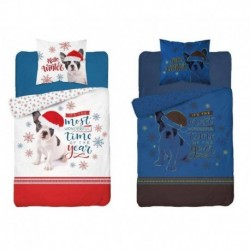Detexpol karácsonyi pamut ágyneműhuzat - világító bulldog - 140 x 200