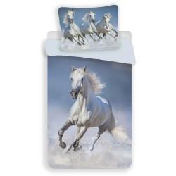 Jerry Fabrics pamut ágyneműhuzat - Horses White - 140 x 200