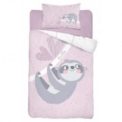 Detexpol gyerek pamut ágyneműhuzat - Lajhár Pink - 100 x 135