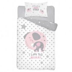 Detexpol gyerek pamut ágyneműhuzat - Elefánt Love - rózsaszín - 100 x 135