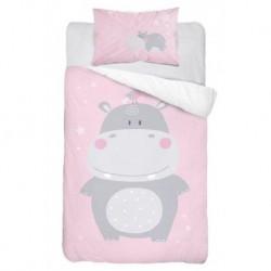Detexpol gyerek pamut ágyneműhuzat - Víziló - rózsaszín - 100 x 135