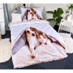 3D ágyneműhuzat - Kutya és macska - 140 x 200 - poliészter