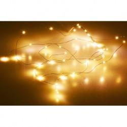 Mikro LED szalag elemekre - 53 cm - 36 dióda - meleg fehér - átlátszó kábel
