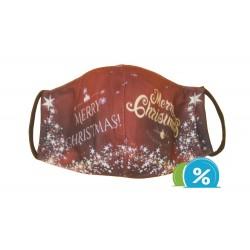 Textil maszk karácsonyi motívummal - piros