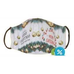 Textil maszk karácsonyi motívummal - zöld-fehér