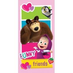 Jerry Fabrics törölköző - Mása és a Medve - barátok - 140 x 70 cm