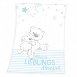 Herding gyerek polár pléd - Bárány és medve - kék - 100 x 75 cm