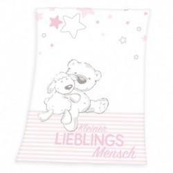 Herding gyerek polár pléd - Bárány és medve - rózsaszín - 100 x 75 cm