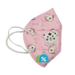 OEM KN95 gyerek légzésvédő légzőszeleppel - 1 db - rózsaszín