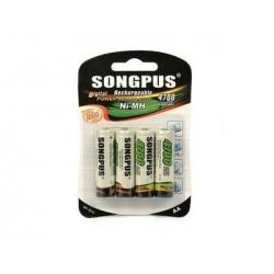 Songpus SP-1814 tölthető AA elem – 4 db - 4700mAh