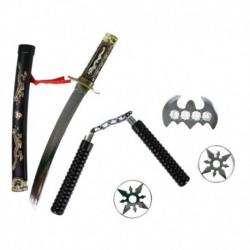 Japán katana kard kellékekkel - 5 darab - Rappa