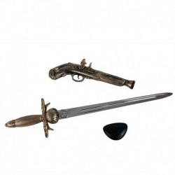 Kalóz készlet - pisztoly, kard és kalóz szemfedő - Rappa