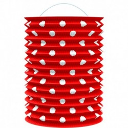 Papír lampion - piros fehér pöttyökkel- 23 cm - Rappa