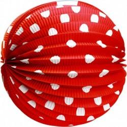 Gömbölyű papír lampion - piros fehér pöttyökkel - 25 cm - Rappa