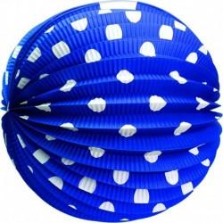 Gömbölyű papír lampion - kék fehér pöttyökkel - 25 cm - Rappa