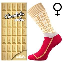 Zokni - fehér csokoládé - női - 1 pár - Lonka
