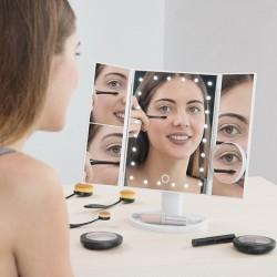 Hárompaneles tükör LED Dot világítással - fehér