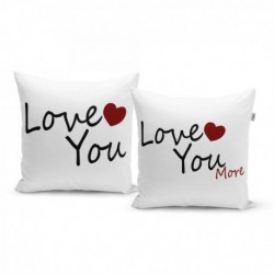 Párnák felirattal - Love you, Love you more - 40 x 40 cm - 2 db - Sablio