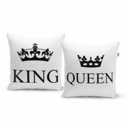 Párnák felirattal - King és Queen - 40 x 40 cm - 2 db - Sablio