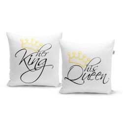 Párnák felirattal - her King, his Queen - 40 x 40 cm - 2 db - Sablio
